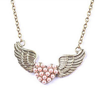 Retro Swing Pink Pearl Heart Necklace  (min,order $10)