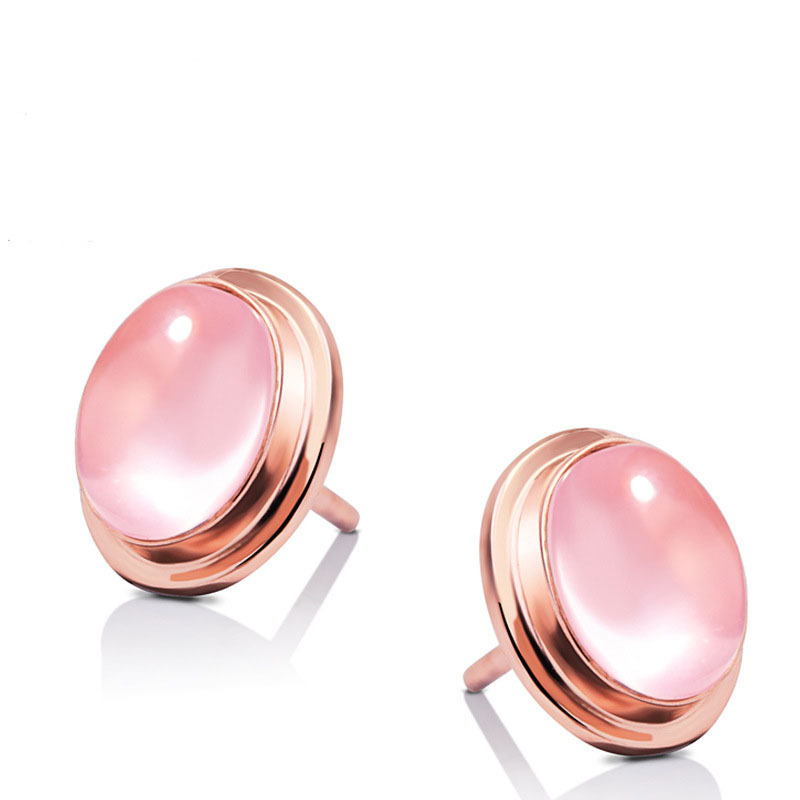 Rose Quartz Pink Crystal Rose Gold Stud Earrings,Boucle D'oreille 925-sterling-silver Earrings For Women,Valentine's Day Present(China (Mainland))