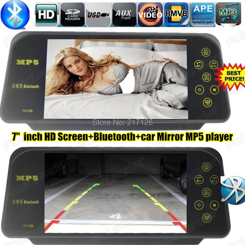 NEW 7 Inch TFT LCD screen Bluetooth MP5 car support rear view mirror monitor reverse parking monitor SD USB W/Remote control(China (Mainland))
