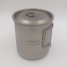Argos Titanium Camping Mug with Lid Titanium Cup Titanium mini Pot 420ML(China (Mainland))