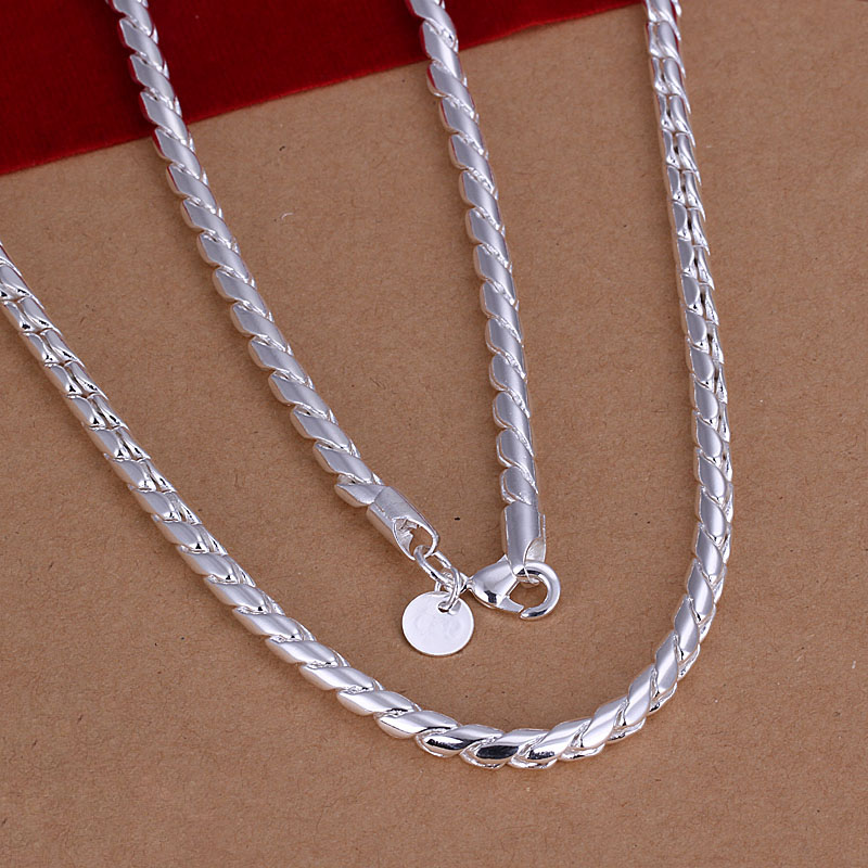 Free Shipping Wholesale 925 Silver Necklaces Pendants 925 Silver Fashion Jewelry Twisted Rope Chain Necklace SMTN012