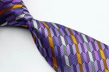 NT0069 Purple Orange Stripe Smooth Multicolor Jacquard Woven Classic Silk Polyester Man s Business Tie Casual