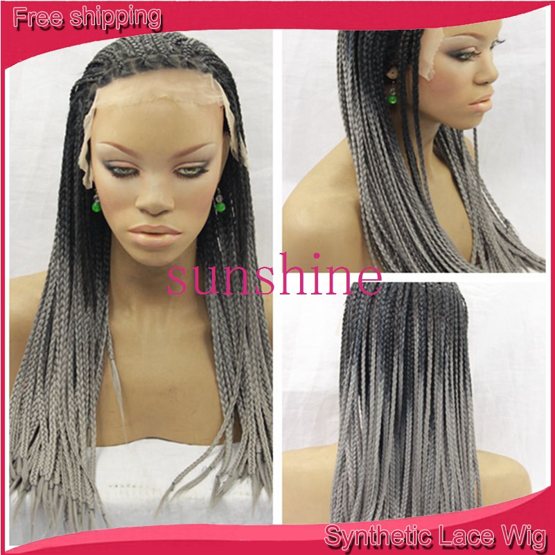 Heat Resistant black Braiding Kanekalon Hair Synthetic Lace front Wig twist Braided Wigs For black Woman<br><br>Aliexpress