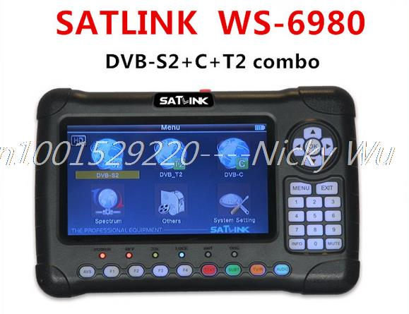 "Satlink WS-6980 7"" HD Digital Satellite Meter WS6980 Locator Satellite Finder WS 6980 DVB-C/DVB-S2/DVB-T2 Satellite TV Receiver(China (Mainland))"