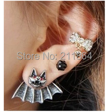 E708 Hot Fashion 2015 New Style Red Crystal Bat Earrings For Women Jewelry Accessories Wholesale(China (Mainland))