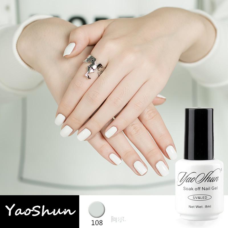 YaoShun French nail tips white gel nail polish 8ml nude color gel varnish long-lasting soak-off led/uv gel nail polish(China (Mainland))