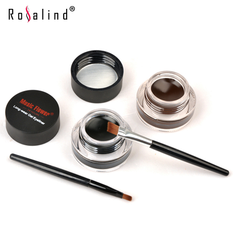 Rosalind ( Mix Sales ) Black + Brown Colors Long-Wear Gel Eyeliner, Smudge- Proof & Water Proof Eye Liner,Beauty mc Makeup(China (Mainland))