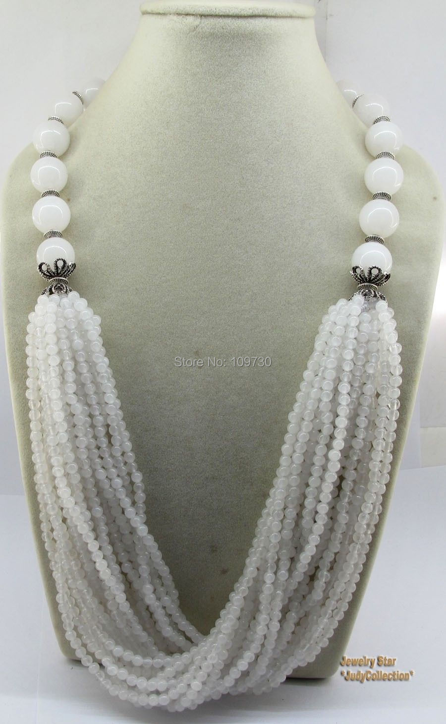 00945 Wow!! Wonderful Bride&Party Jewelry Gem Stone White Jade Necklace(China (Mainland))