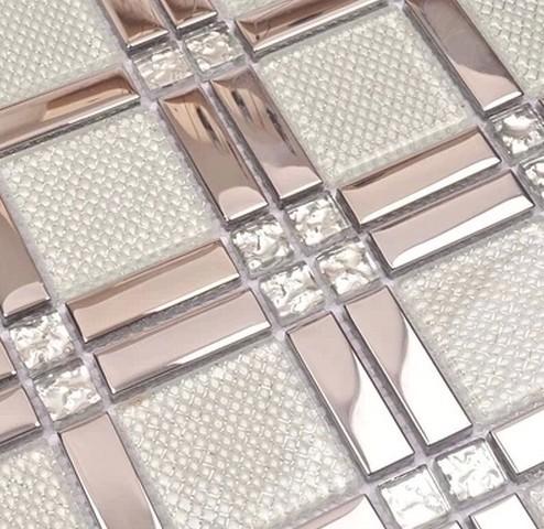 white glass mixed silver stainless steel mosaic and diamond for kitchen backsplash tile bathroom shower tile hallway border(China (Mainland))