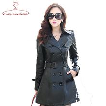 Plus Size 5XL 2016 Women PU leather Jacket New Fashion 3 Colors Long Double-Berasted Belt Casaco Feminino (China (Mainland))