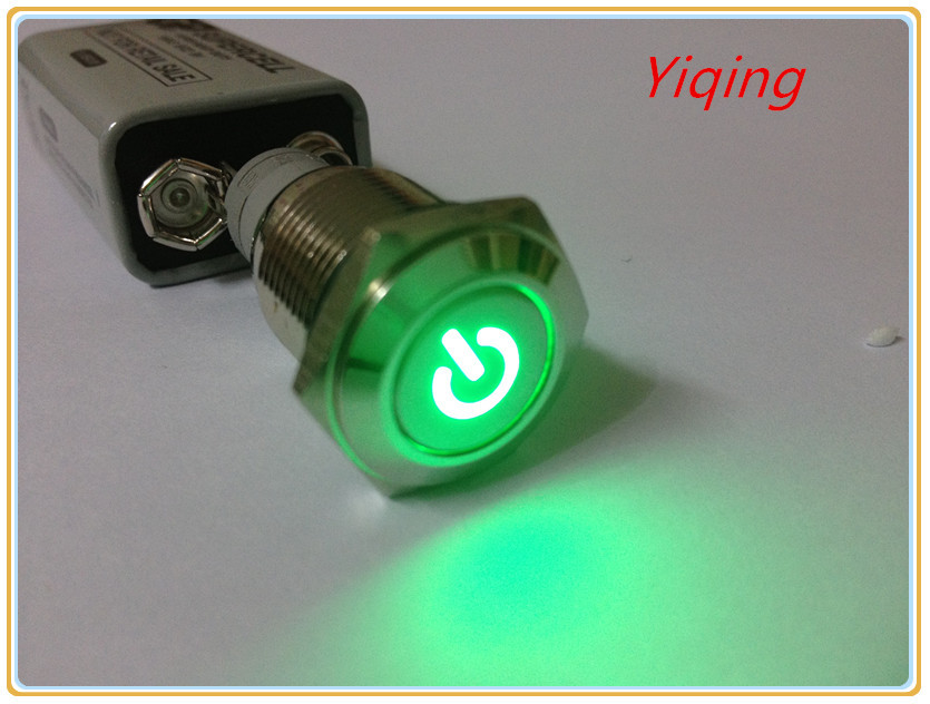 16mm Green led momentary push button switch 12V car computer no-lock reset switch(China (Mainland))