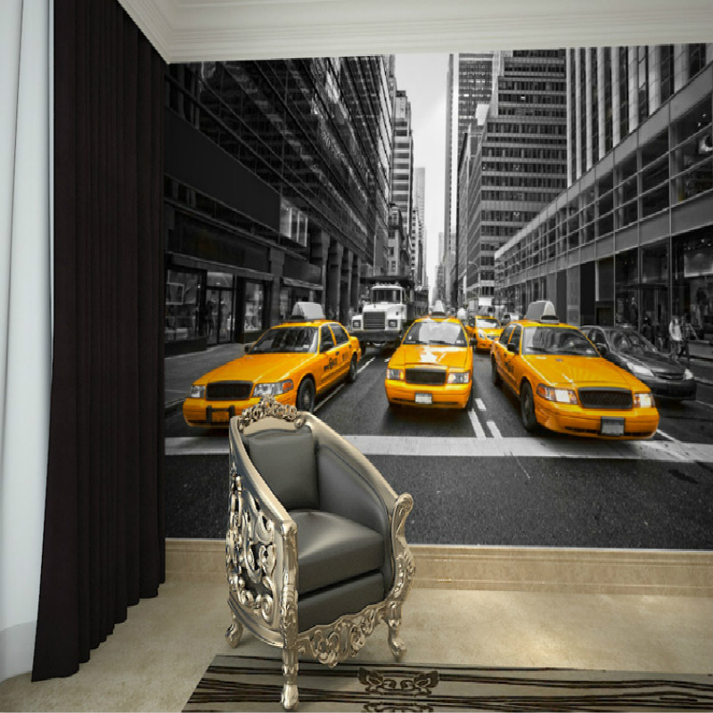 mural new york yellow cab wall of black and white tv. Black Bedroom Furniture Sets. Home Design Ideas