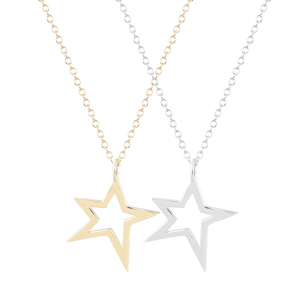 Free Shipping 2014 New Style Fashion Silver Origami Star Cutout Star Necklace jewelry statement necklace for women  Wholesale<br><br>Aliexpress