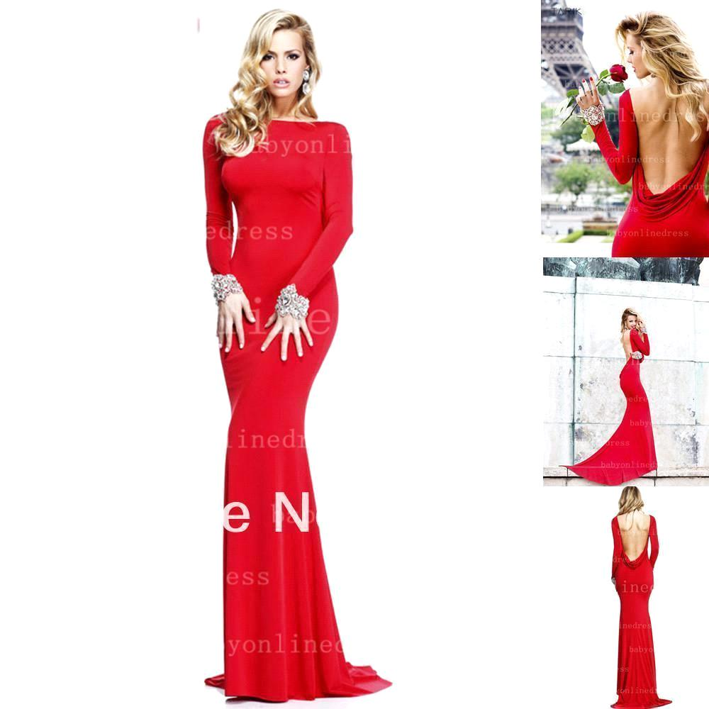 fast shipping prom dresses sexy red mermaid long sleeve
