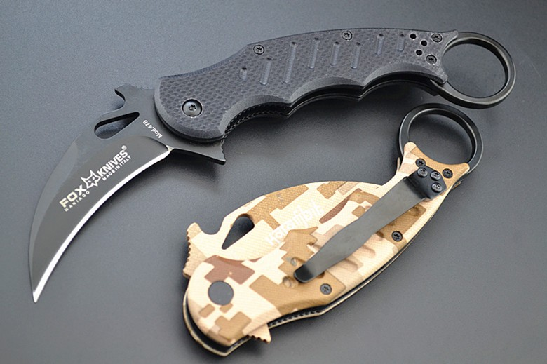 Buy Hot Karambit Knife FOX Folding Knife 5Cr13 Blade G10 Handle Survival Knives Hunting Tactical Knifes Camping Outdoor Tools K89 cheap