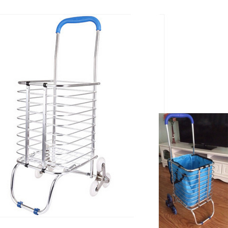 Free Shipping,women push trailer,popular Shopping trolley,Aluminium trolley,6 wheels,oldman climb stairs foldable cart & fabric(China (Mainland))
