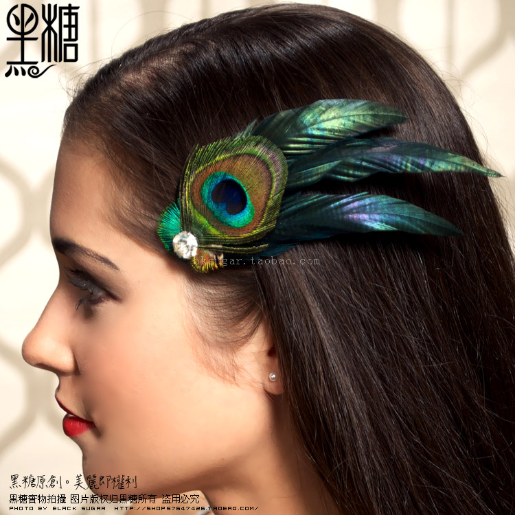 Brown peacock feather gem dinner party hair accessory hair accessory(China (Mainland))