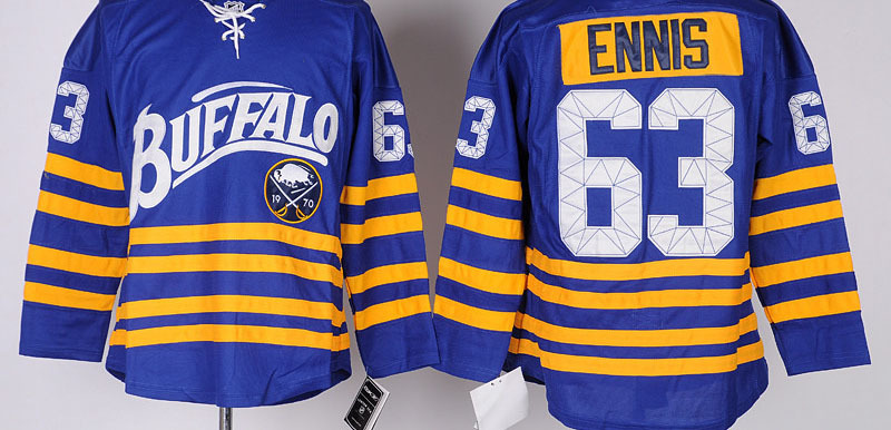 Buffalo Sabres Mens Jerseys #63 TYLER ENNIS Blue Ice Hockey Jersey,100% Stitched logos,Size 48-56,Mix Order