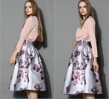 2015 New Women Retro print skirts A-Line Elegant Skirt high waist Ball Gown Skirts High Fashion Designer Brands XY-19