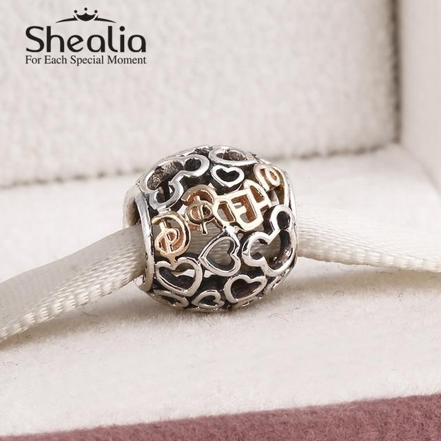 925 чистое серебро и 14 k настоящее золото микки в форме сердца подвески-талисманы ажурные письма подвески-талисманы подходит своими руками браслеты SH0558