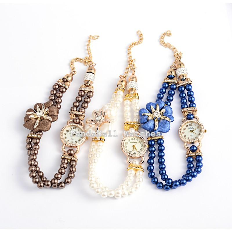 Golden Tone Alloy Rhinestone Watch Bracelets, with ABS Beads, Alloy ABS Flower, Magnetic Clasps and Aluminum Chains, Mixed<br><br>Aliexpress