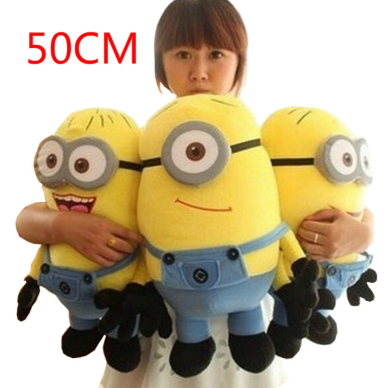 1pcs Big Size 50CM Minions Plush Toys Despicable Me 2 Movie Baby Kids 20Inch Minion Toys Birthday Gift Free Shipping HT499<br><br>Aliexpress