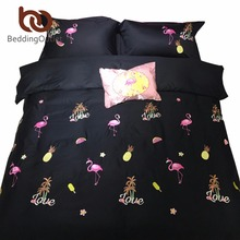 BeddingOutlet Flamingos Bedding Set 100% Cotton Bed Sheet Pink Black Embroidered Bedding Queen King Bed Set 4 Pieces(China (Mainland))