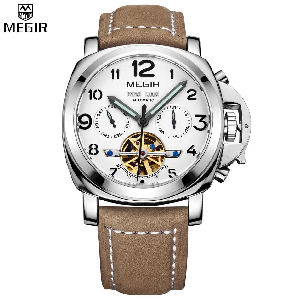 MEGIR Мужчины Механическая Автоматическая Многофункциональный Вечный Календарь Часы Военные Спортивные Часы Relogio мужской Кожаный Часы