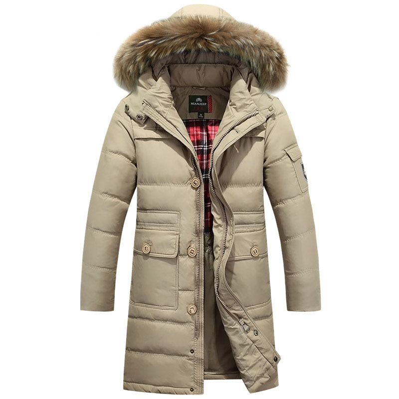 new 2015 thick warm winter long jacket men overcoat 90% White duck down coats parka casual jackets detachable hat outerwear
