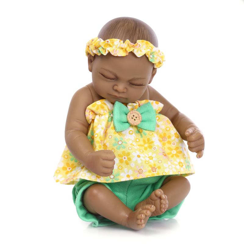 Silicone reborn baby mini doll lifelike 25cm black skin newborn boy and girl babies doll play house bedtime toy collectable doll(China (Mainland))