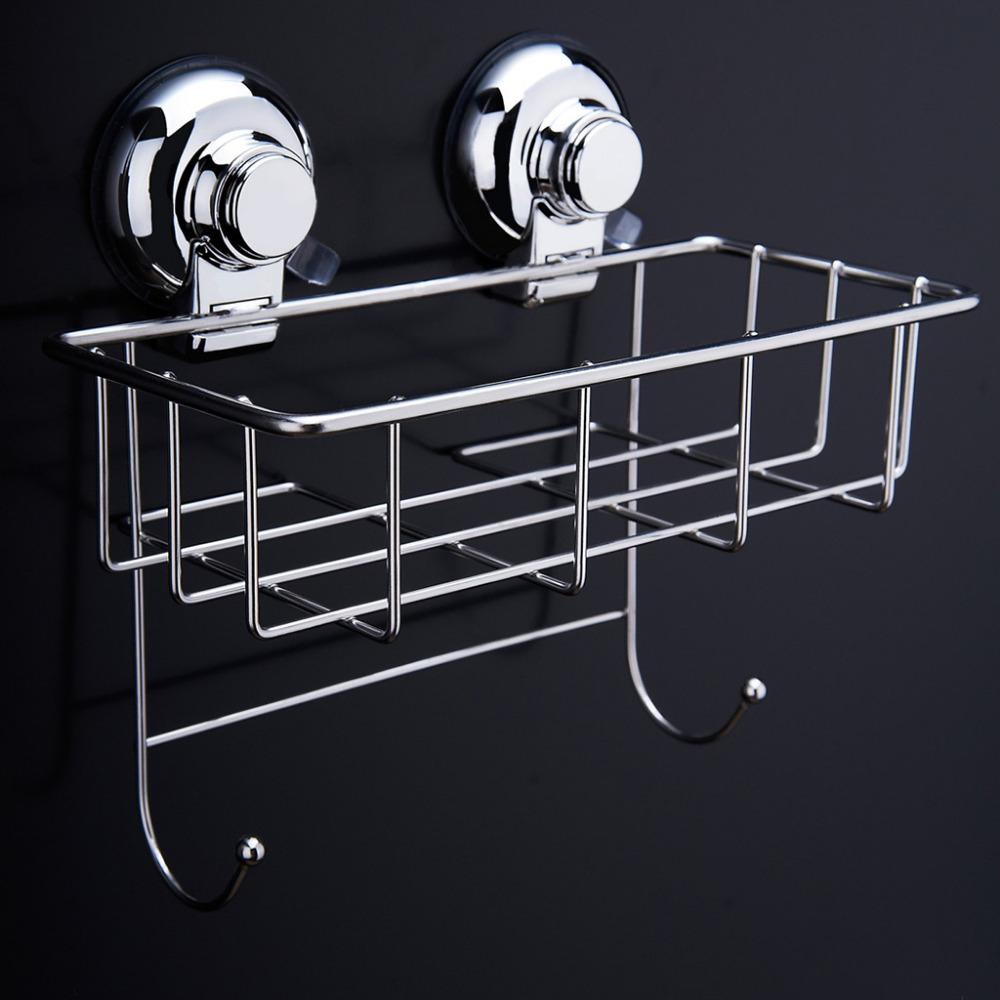 Stainless Steel Kitchen Bathroom Square Storage Basket Vacuum Suction Cup Hook Holder Organizer Storage Shelf with 2 Hooks(China (Mainland))