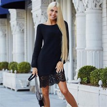 Buy WJ Brand Winter Autumn Women Long Sleeve Warm Lace Knitted Sweater Dresses Black White Sexy Slim Bodycon Dress Party Vestidos for $7.46 in AliExpress store