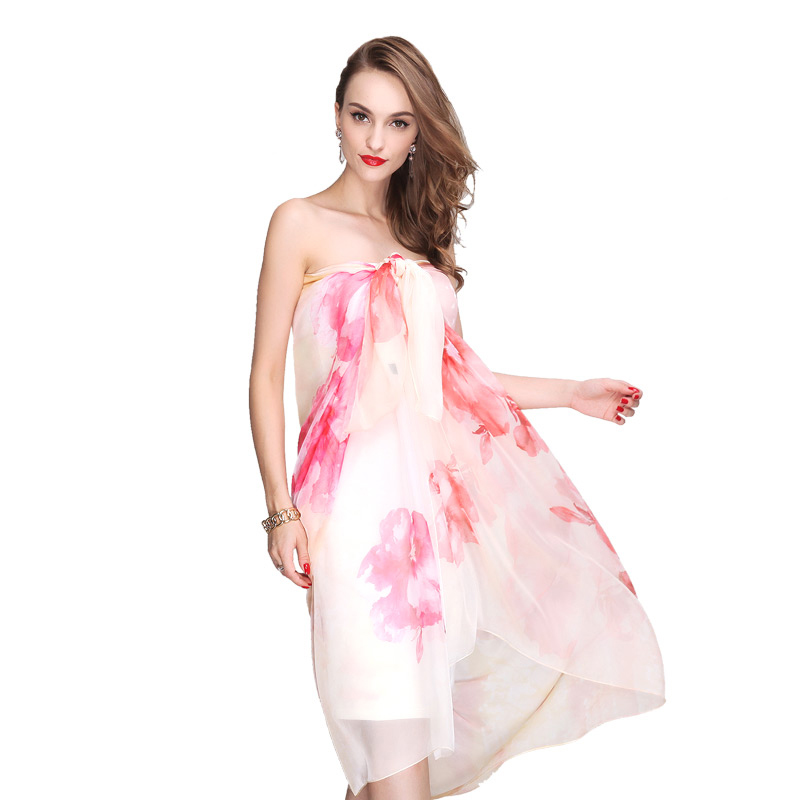 spring Soft silk feeling chiffon scarf beach shawl women scarf cover up elegant pink rose shawl wraps over size(China (Mainland))