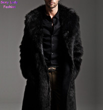 Warm Winter Soft Shaggy Faux Fur Long Trench Men's Trendy Slim fit Faux Fur Coats For Motorcycle Outerwear Nordic Nights Coat(China (Mainland))