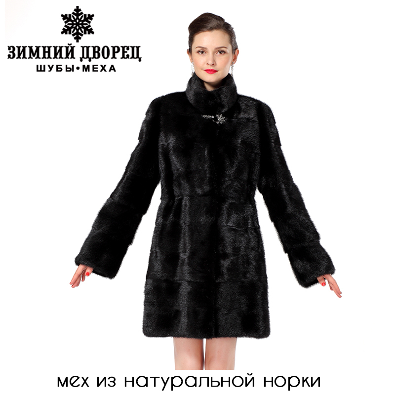 Women's fur coats, black, collar, slim, natural fur, adjustable elastic waist, fur coats,outerwear coats, free shipping(China (Mainland))