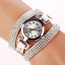 2015 New Luxury Rhinestone Leather Round Bracelet Wristwatches Women Watches Dress Watch Vintage Quartz Watch XR689