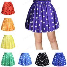 New Women Candy Pleated Mini Tennis Skirts High Waist Pettiskirt Exercise Dance Bubble Skirts Cute Polka Dot Miniskirt 17 Colors