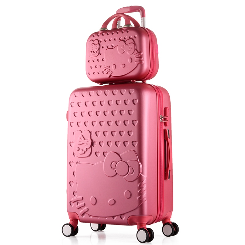2PCS/SET Lovely 14inch Cosmetic bag hello Kitty 20 24 inches girl students trolley case Travel luggage woman rolling suitcase(China (Mainland))