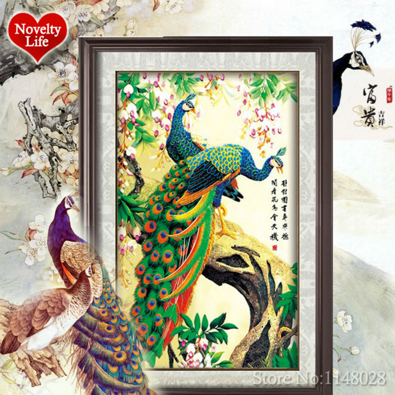 5D DIY Diamond Painting Peacock Cross Stitch Kit Forest Animal Set Embroidery Rhinestone Round Crystal Wall Home Decor Pasted(China (Mainland))