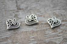 30pcs--Heart Charms, Antique Tibetan Silver Love Hollow Hearts Charms Charm Pendants 15x24mm(China (Mainland))