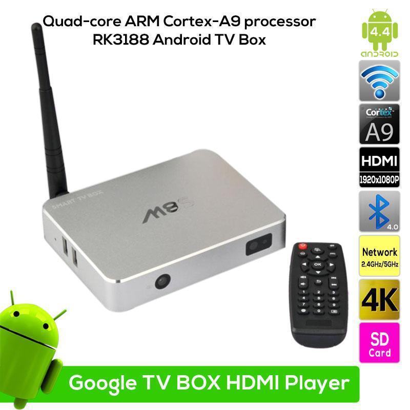 New Android 4.4 TV Box 2GB 16GB HD 1080P RK3188 M8S Quad Core Google Smart Media Player XBMC Wifi Antenna with Remote Control(China (Mainland))