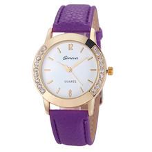 Nueva 12 Color 2016 Hot Sale Fashion Elegan Women Geneva Diamond Analog Leather Quartz Wrist Watch Watches relogio feminino Gift