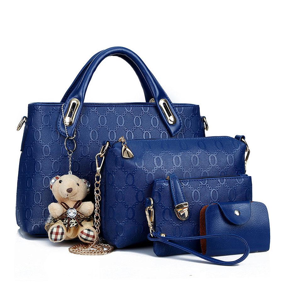 Women Handbags Leather Handbag Women Messenger Bags Ladies Brand Bag,Handbag + Messenger Bag + Purse+Card Pack 4 Sets 35ZD(China (Mainland))