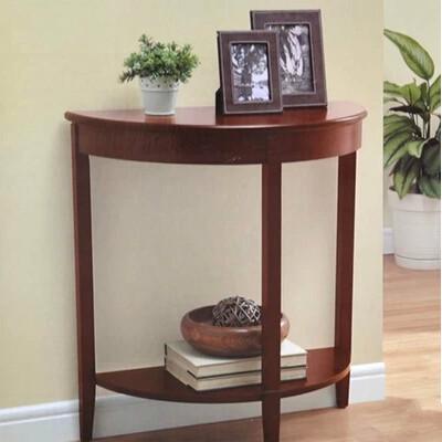 walnut color semi circle eu american style wood accent table half round sofa table. Black Bedroom Furniture Sets. Home Design Ideas