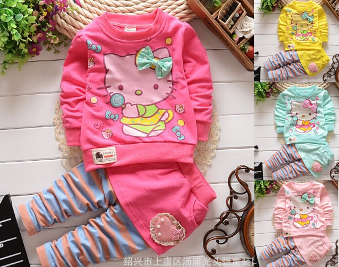 2015 New autumn spring clothing sets sport suit set kid hello kitty cotton suit clothes sets girls t-shirt+pants 2pcs outerwear(China (Mainland))