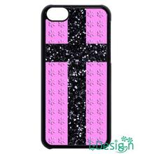 Fit for iphone 4 4s 5 5s 5c se 6 6s plus ipod touch 4/5/6 back skins cellphone case cover Glitter Cross with Pink Floral pattern