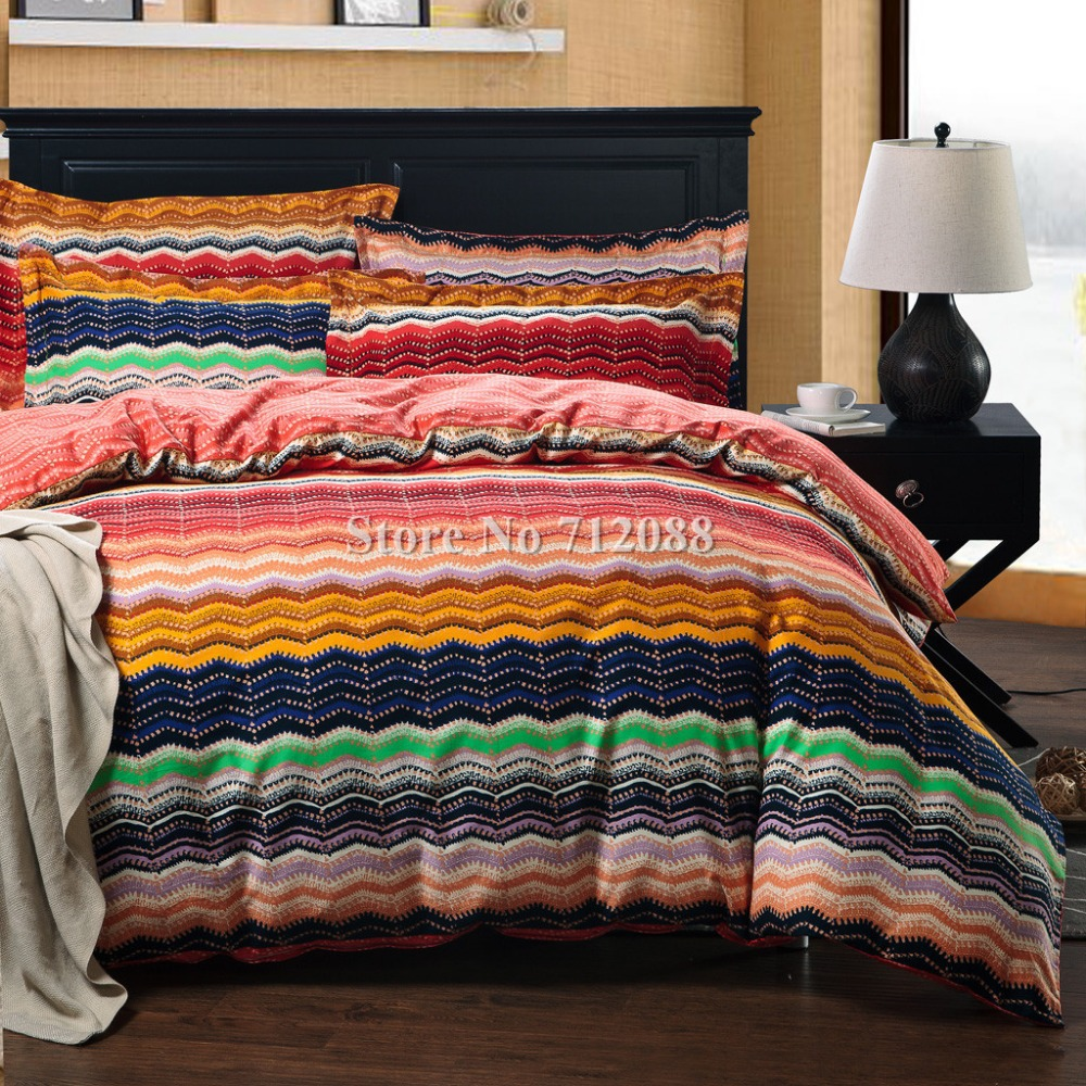 Free shipping bed linens queen king comforter 100 cotton - Blue and orange bedding sets ...