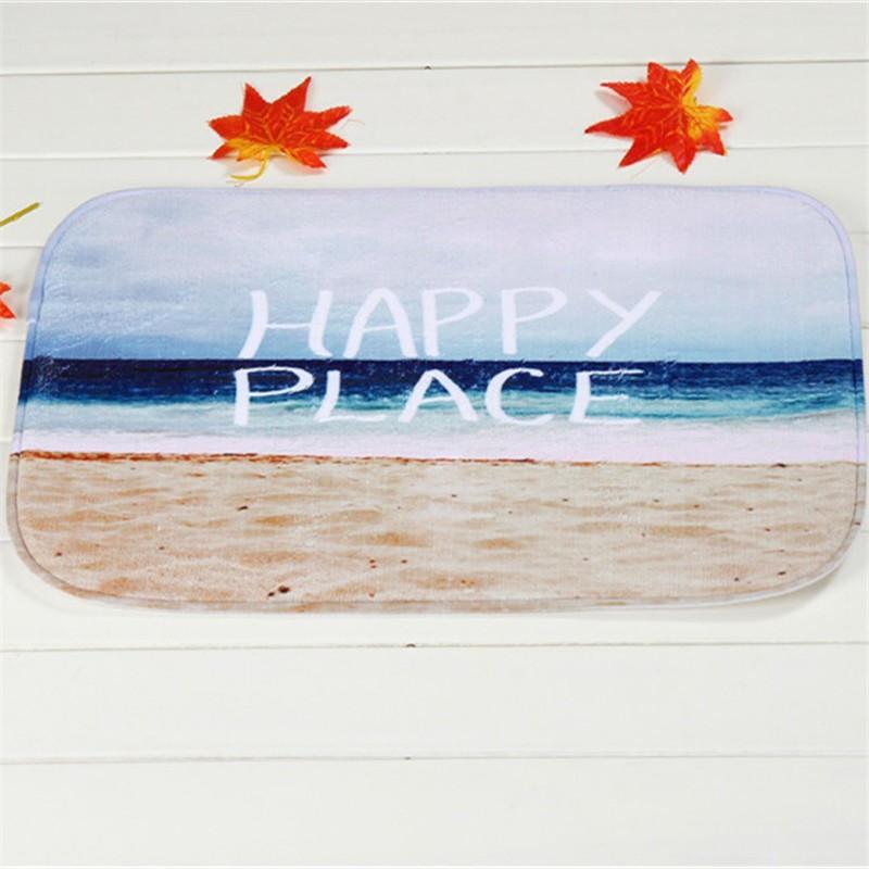 Coral Velvet Bathroom Carpet Mats Anti-slip Rug Shower 40x60cm Happy ...