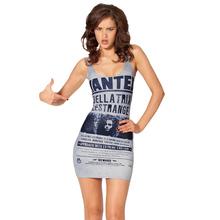 Fashion B1048 Women's 3D printing gray news paper magic prints elastic summer sexy Girl sandbeach one-piece tight dress