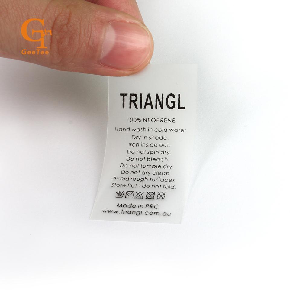 custom washable swimwear swin suit labels TPU soft touching skin,customized transparent brand name swimsuit main tags labels(China (Mainland))